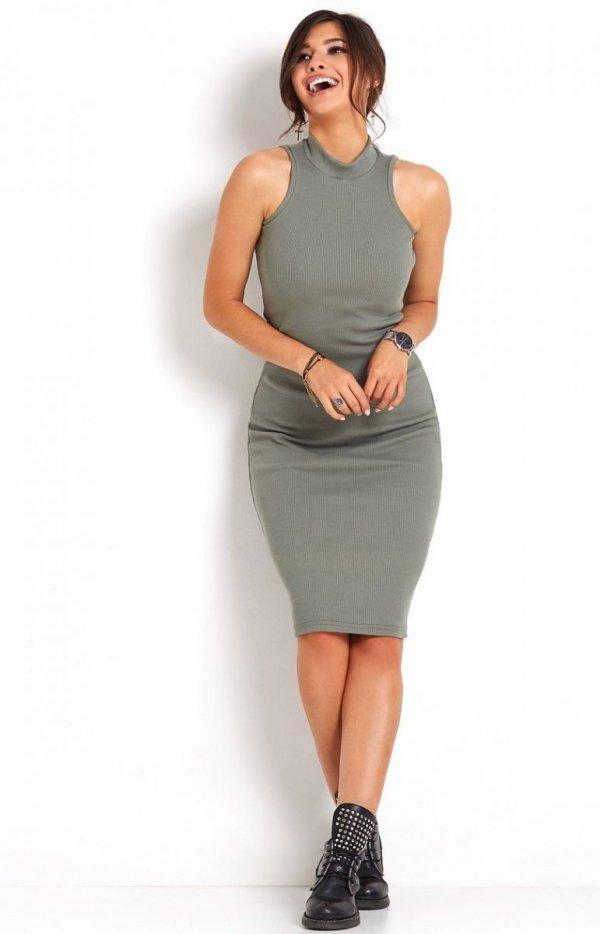 Ołówkowa sukienka khaki Rosa-2