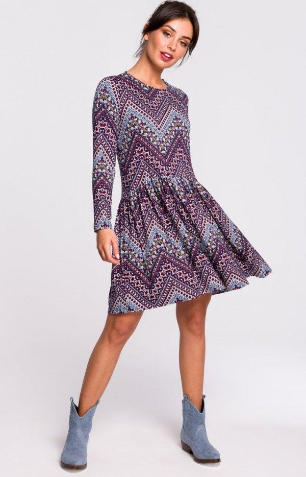 Dzianinowa sukienka wielokolorowa B136-1