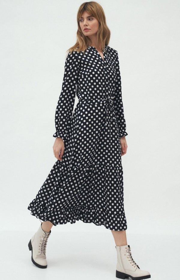 Długa sukienka w groszki S168