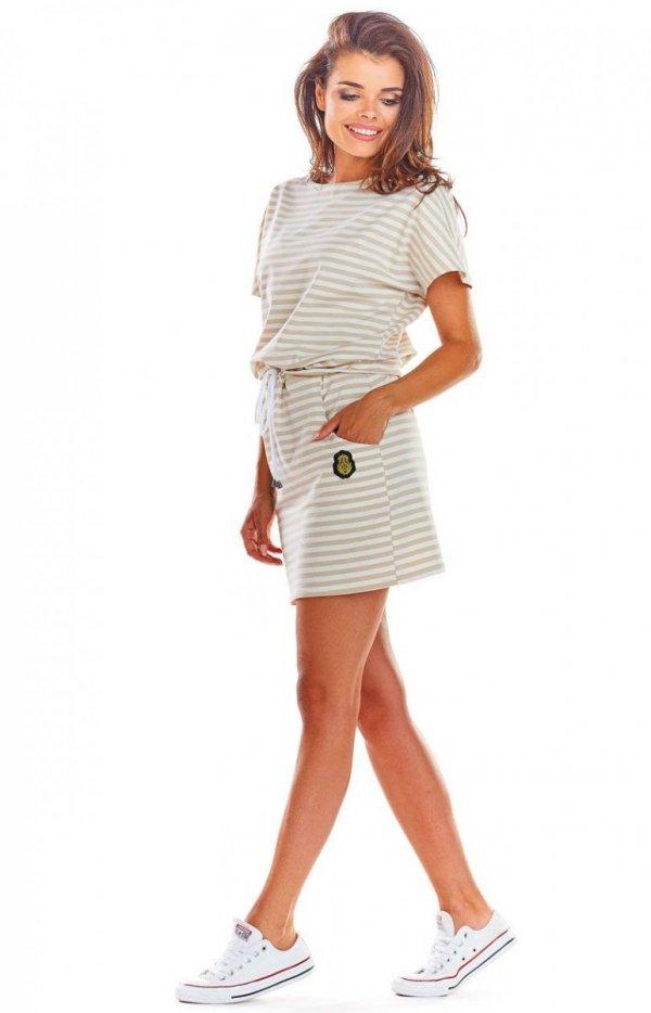Sportowa sukienka z wiązaniem beżowe paski M207-1