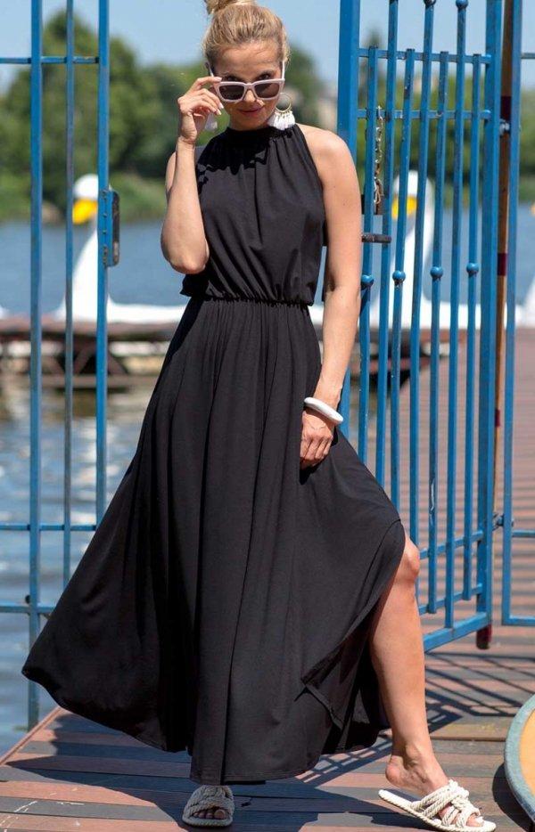 Efektowna sukienka maxi czarna