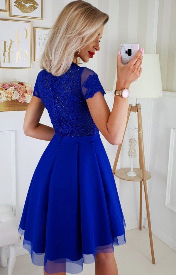 Sukienka z koronkową górą chabrowa 2180-05_1