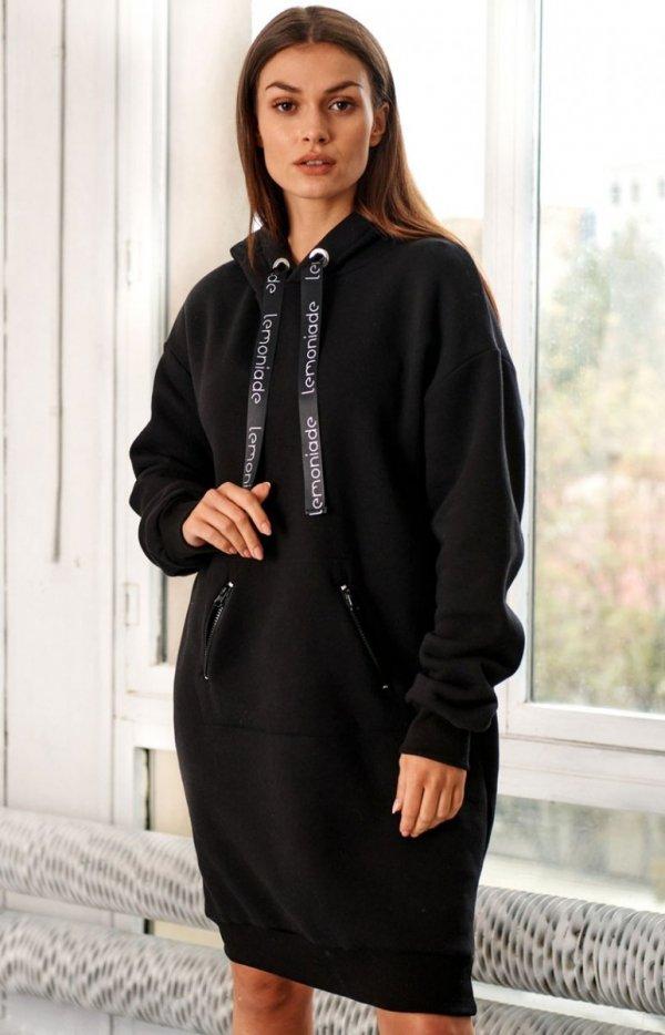 Bawełniana bluza z kapturem czarna LN120-1