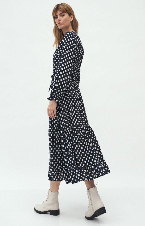 Długa sukienka w groszki S168 tył