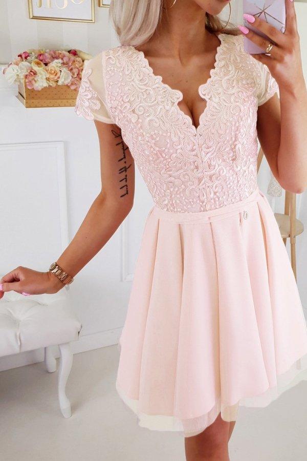 Brzoskwiniowa koronkowa sukienka z tiulem 2180-17-2