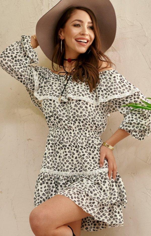 Kobieca sukienka hiszpanka w kwiaty 0328/U44