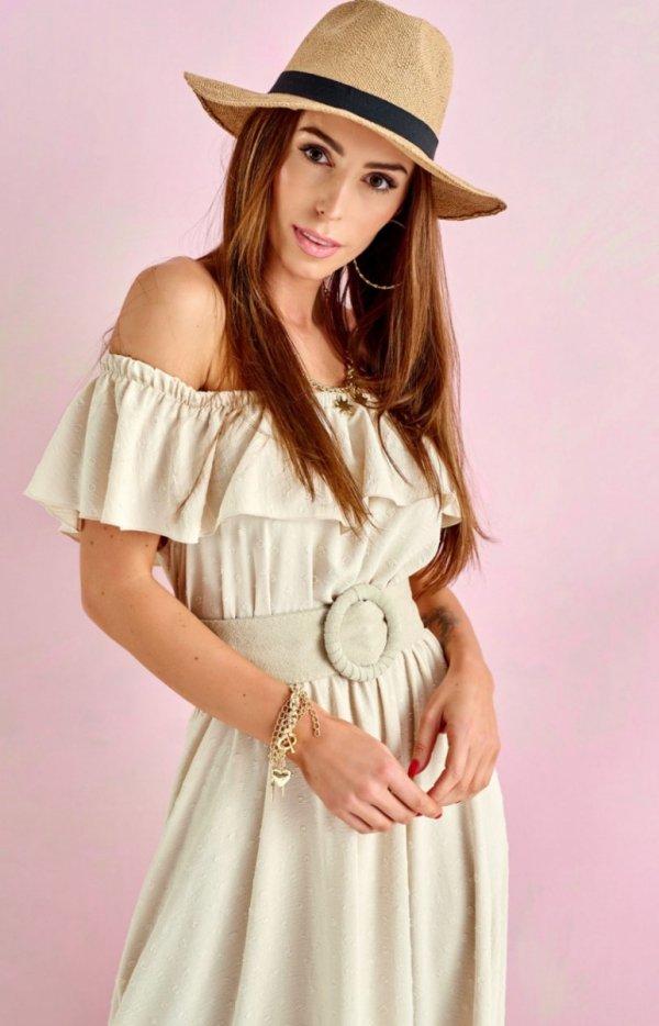 Asymetryczna sukienka hiszpanka beżowa 0334-1