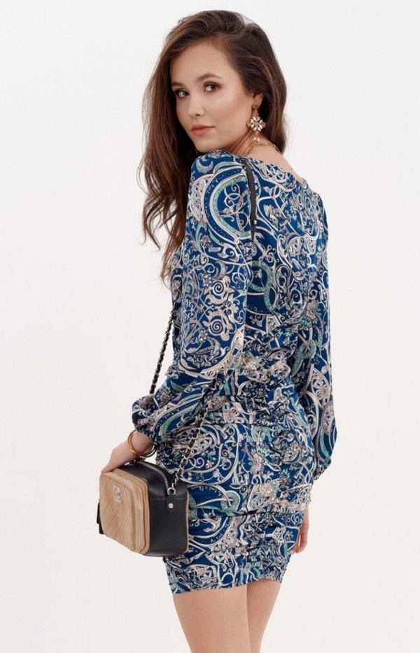 Ołówkowa sukienka z bufiastymi rękawami 0280/S23 tył