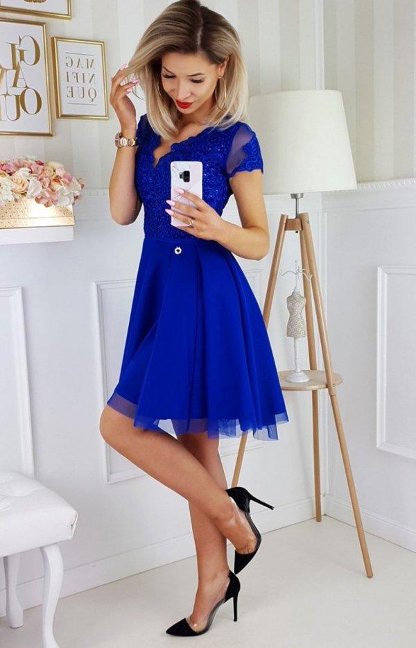 Chabrowa koronkowa sukienka z tiulem 2180-05-2