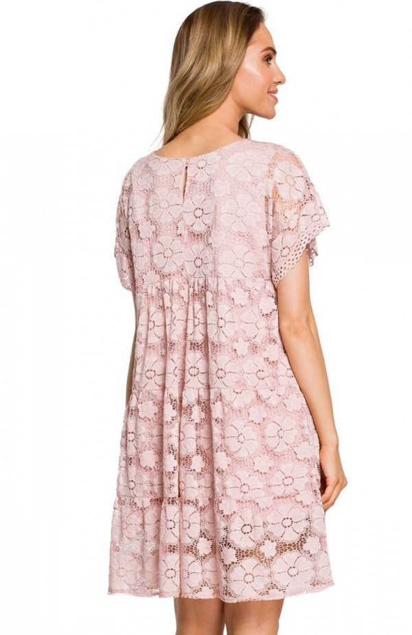 Moe M430 sukienka koronkowa różowa tył