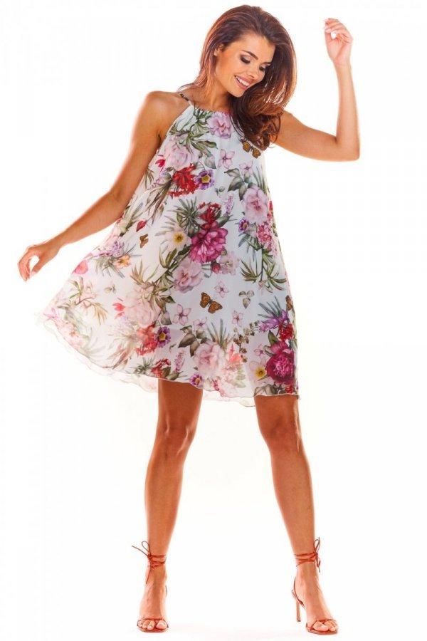 Luźna sukienka w kwiaty biała A289-1