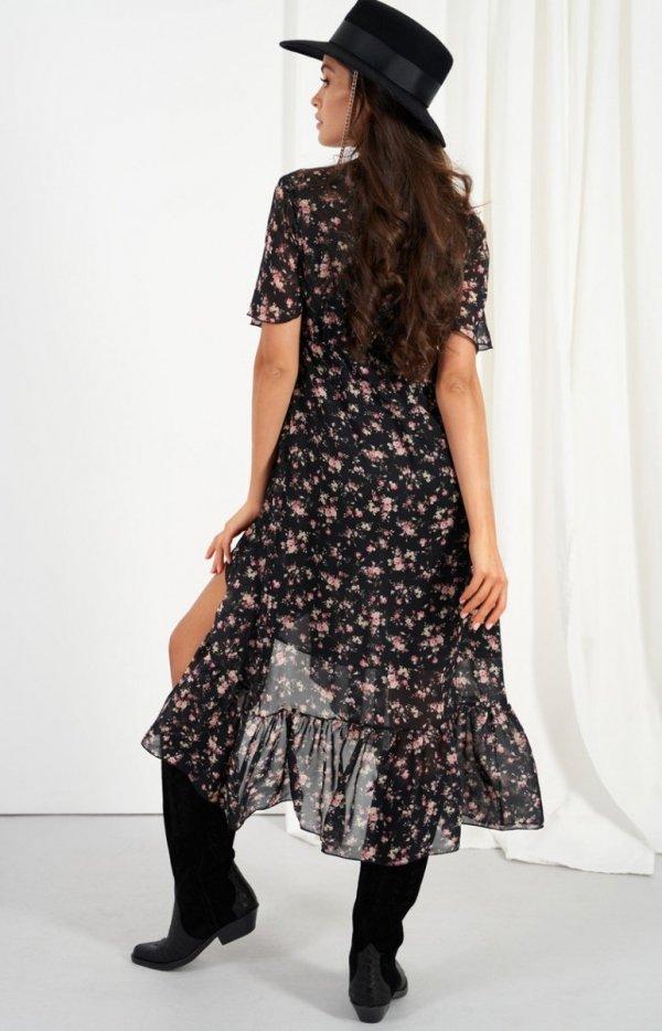 Zwiewna asymetryczna sukienka maxi LG523 tył