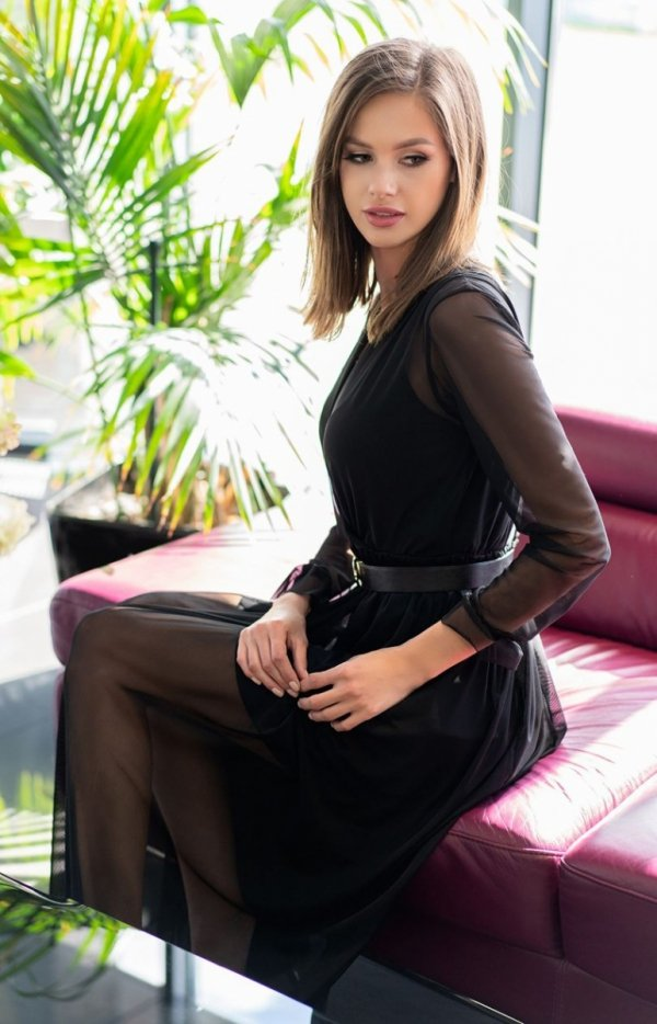 Długa sukienka czarna Mariedam 1405 bok