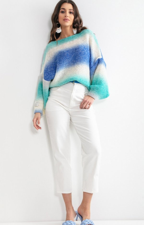 Pastelowy oversizowy sweter F1162-1