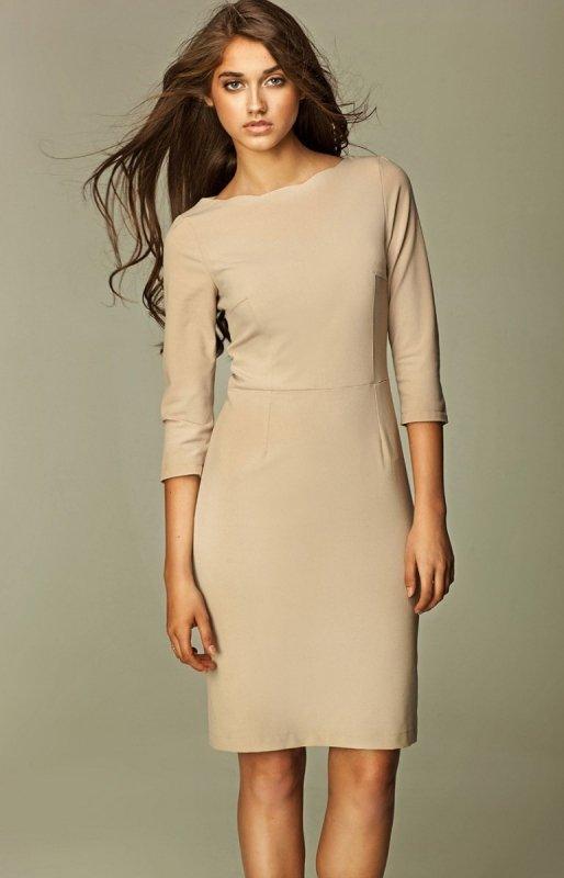 ee50985a44 Nife S30 sukienka beżowa - Odzież damska Nife - Sukienki damskie Nife -  MODA - Sklep Intimiti.pl