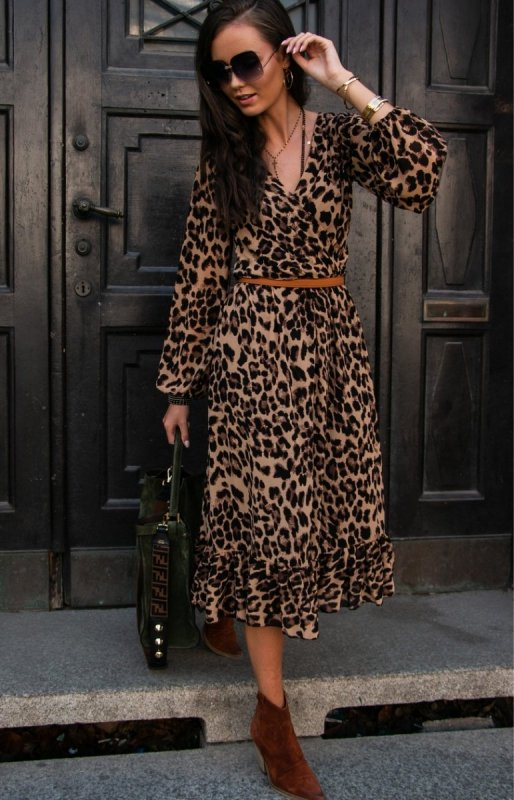 Sukienka midi w panterkę z falbaną 024160 Sklep Internetowy Intimiti.pl