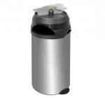 Metalowy, zewnętrzny kosz na śmieci KPP 60-S 60 litrów z popielnicą wykonany ze stali nierdzewnej (koszopopielnica)