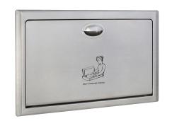 Przewijak ścienny wnękowy ze stali - stanowisko do przewijania dzieci i niemowląt wnękowe Sanjo z obudową metalową, poziome, składane