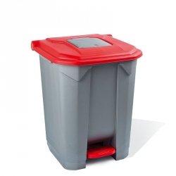 Kosz na odpady czerwony otwierany pedałem 30 l z tworzywa KP30-CZE