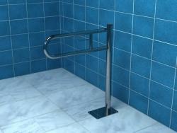 Poręcz dla niepełnosprawnych łukowa, uchylna podłogowa z miejscem na papier 60 cm Makoinstal PSP 760P