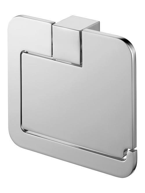 Chromowany uchwyt WC z klapką Bisk Futura Silver 02991 metalowy na papier toaletowy w rolce