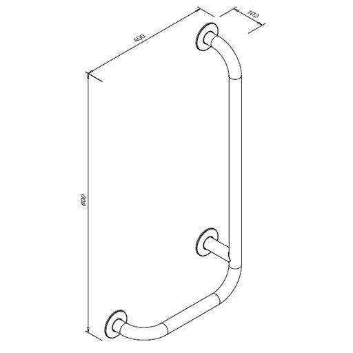 Poręcz kątowa 90° dla niepełnosprawnych Faneco S32UKP8/4 SW B prawa 80x40 cm stal węglowa emaliowana