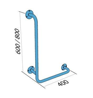Poręcz kątowa typu L prawa 60/40cm dla niepełnosprawnych UKP stal węglowa emaliowana