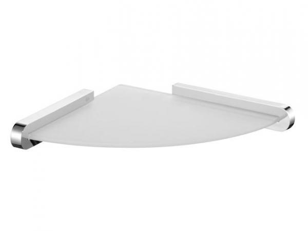 Szklana półka narożna Bisk Futura Silver 02984 w chromowanych uchwytach metalowych