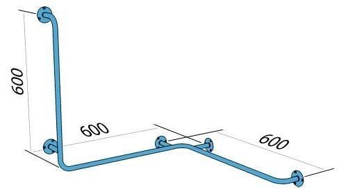 Poręcz wannowo-prysznicowa dla niepełnosprawnych Faneco S32UPPL lewa 60x60x60 cm stal nierdzewna