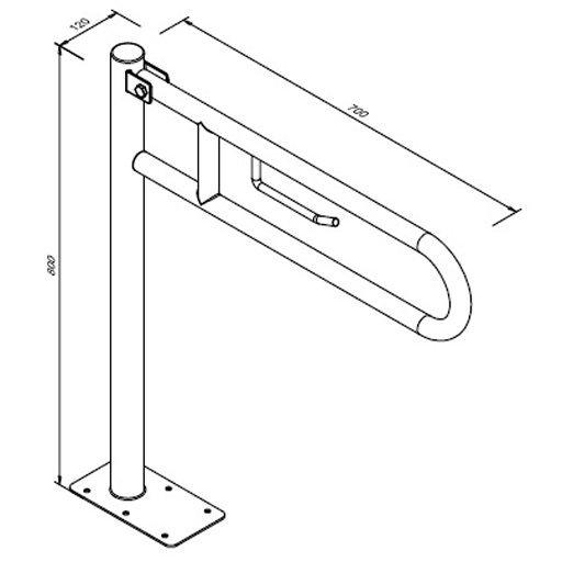 Poręcz przysedesowa uchylna dla niepełnosprawnych Faneco S32UUWCW7P SN M 70 cm stal nierdzewna