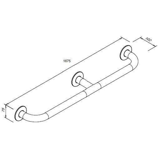 Poręcz prosta dla niepełnosprawnych Faneco S32UP16 SN M 160cm stal nierdzewna