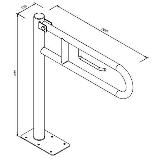 Poręcz przysedesowa uchylna dla niepełnosprawnych Faneco S32UUWCW6P SW B 60 cm stal węglowa emaliowana