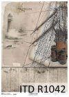 lighthouse, binoculars, ship, sail, sailing fog, sea, ocean, rope, steering wheel, board, boards, deck,