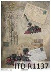 papier decoupage stara lokomotywa, parowóz*Paper decoupage old locomotive, steam locomotive