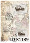 papier decoupage stara mapa, stare auta*Paper decoupage old map, old car