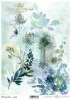 Niebieskie kwiaty, kwiatki, akwarele, kompozycja kwiatowa, tajemnica, kolaż, drzwi, motyl