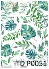 filodendron-monstera-zielono-niebieskie-liście-Pergamin-do-scrapbookingu-P0051-decoupage-paper-with-leaves