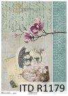 Papier decoupage stara pocztówka, dzieci, magnolia*Paper decoupage old postcard, children, magnolia