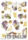 Papiery wielkanocne do scrapbookingu Kurczaki, wielkanocne tagi, wiosenne kwiaty TAG0120