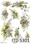 Papier decoupage Fiołki, Bzy*Paper decoupage violets, lilacs