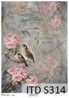 papier decoupage ptaki, róże*decoupage paper birds, roses