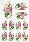 Papier ryżowy do decoupage, kwiaty róża mała, owal, pąki róż, R0221