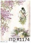 papier decoupage bzy, róże, ptaki*Paper decoupage lilacs, roses, birds