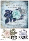 papier decoupage niebieska róże*paper decoupage blue roses