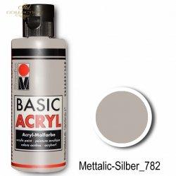 Farba akrylowa Basic Acryl 80 ml Mettalic-Silber 782