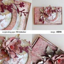 Kartka okolicznościowa Bordowe Kwiaty - praca Asha