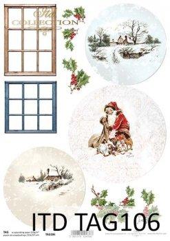 бумага для новогодних и рождественских шаров TAG0106