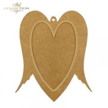 HDF006 *  Dwuczęściowe serce ze skrzydłami. Bombka/ramka z dziurką. 19,5 cm x 16,5 cm