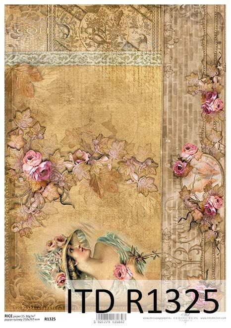 Papier decoupage Vintage, dama, mur, koronka*Vintage paper decoupage, lady, wall, lace