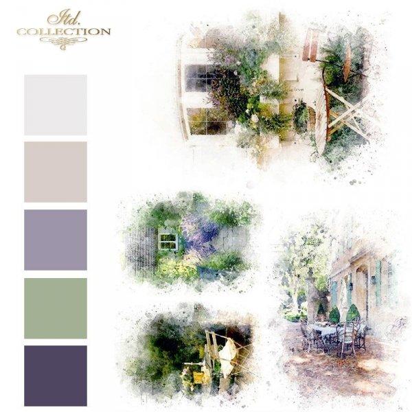 Akwarele, romantyczne kawiarenki, ukwiecony taras, lawendowa ścieżka*Watercolors, romantic cafes, flower terrace, lavender path
